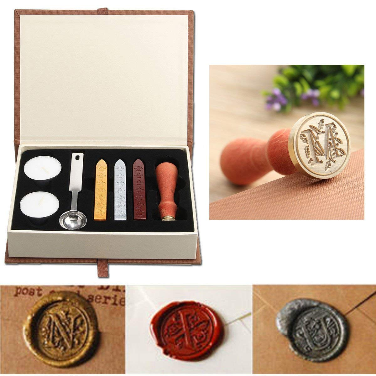 Seal Wax Kit,PUQU Vintage Initial Letters A-Z Alphabet Wax Badge Seal Stamp Kit Wax Set Tool Gift(M)