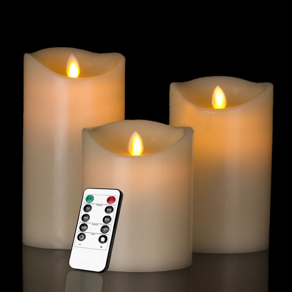 """HEIOKEY Electronic LED Candle Set of 3 (4"""" 5"""" 6"""") Real Wax Moving Wickess LED Flameless Candles Pillar Lights Battery Operated with Timer and Remote Control for Gifts and Decoration(Ivory White)"""