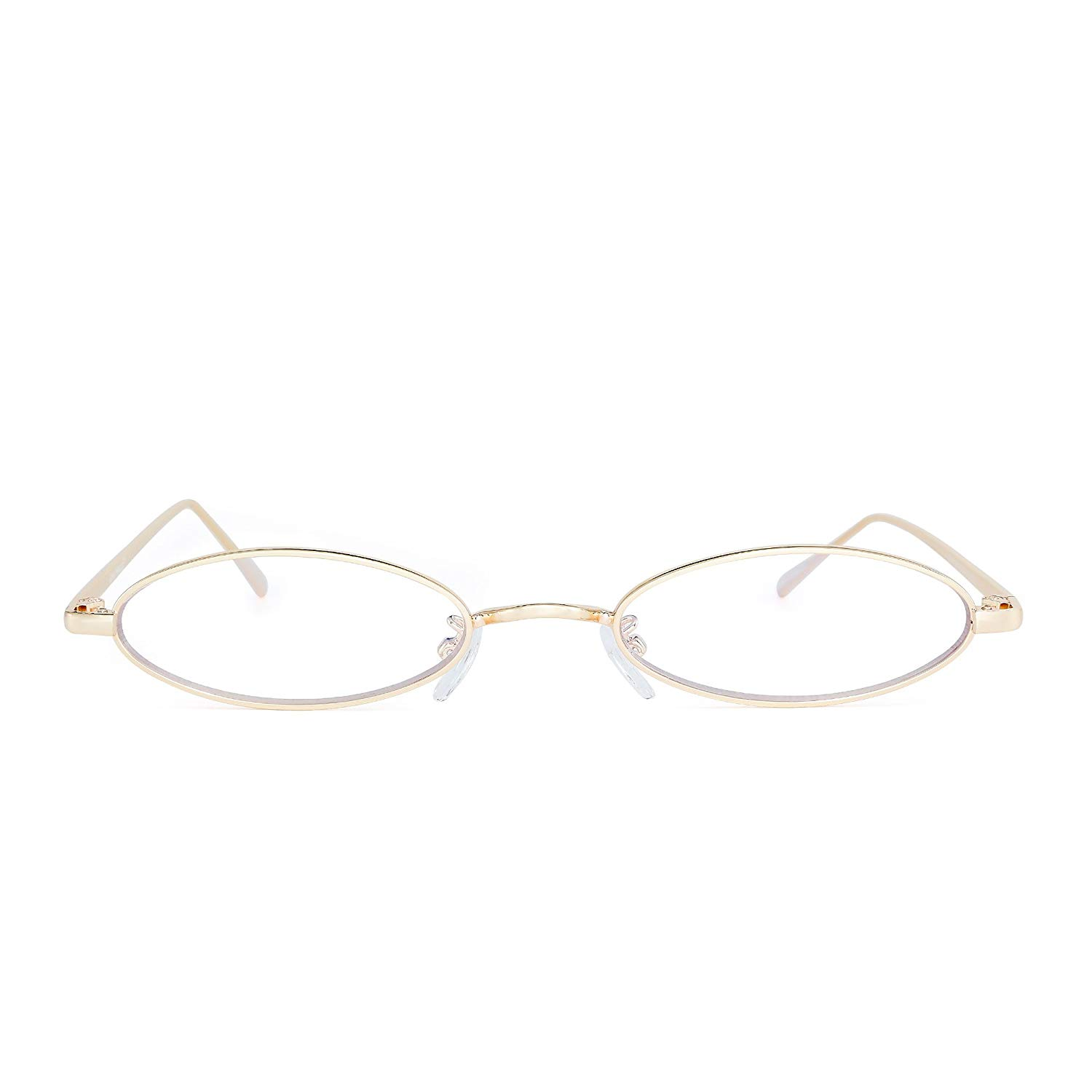 f90b70a138 Get Quotations · Small Oval Metal Sunglasses Retro Slender Clear Lens  Tinted Glasses Women Men