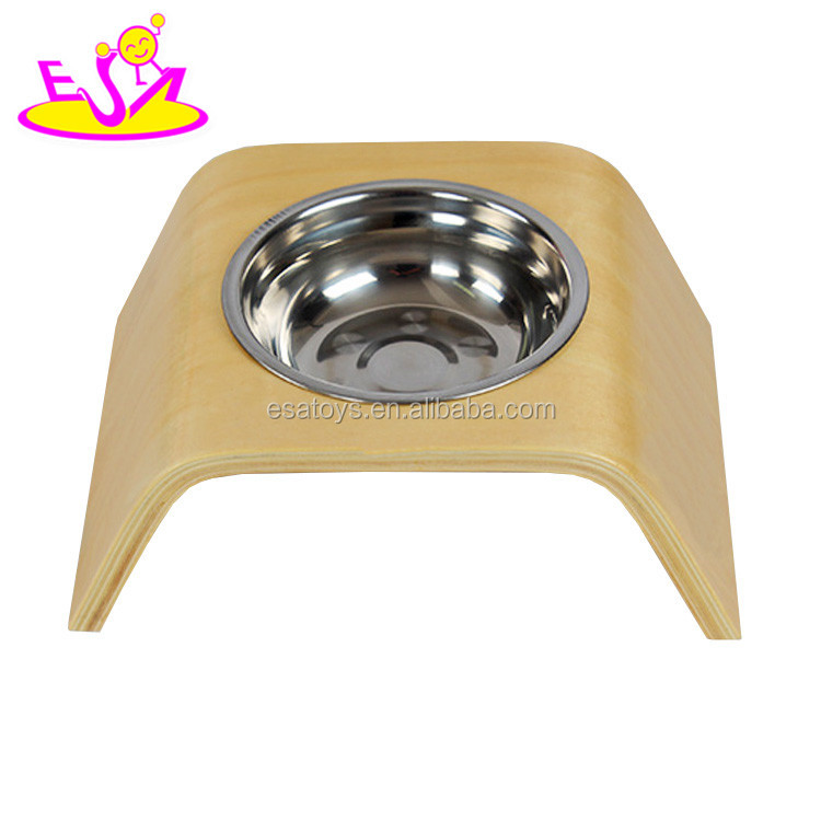 High quality safety stainless steel bowl wooden pet feeder for small dogs cats and pets W06F045