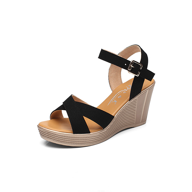 2018 Summer Pu <strong>Sandals</strong> Peep Toe Wedge Casual <strong>Sandals</strong> Wholesale High Heel Comfortable Lady Shoes