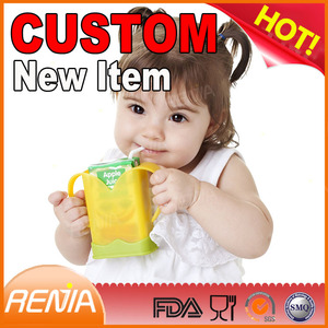RENJIA custom small juice boxes holders drink soy milk bags pouch case silicone juice box holder