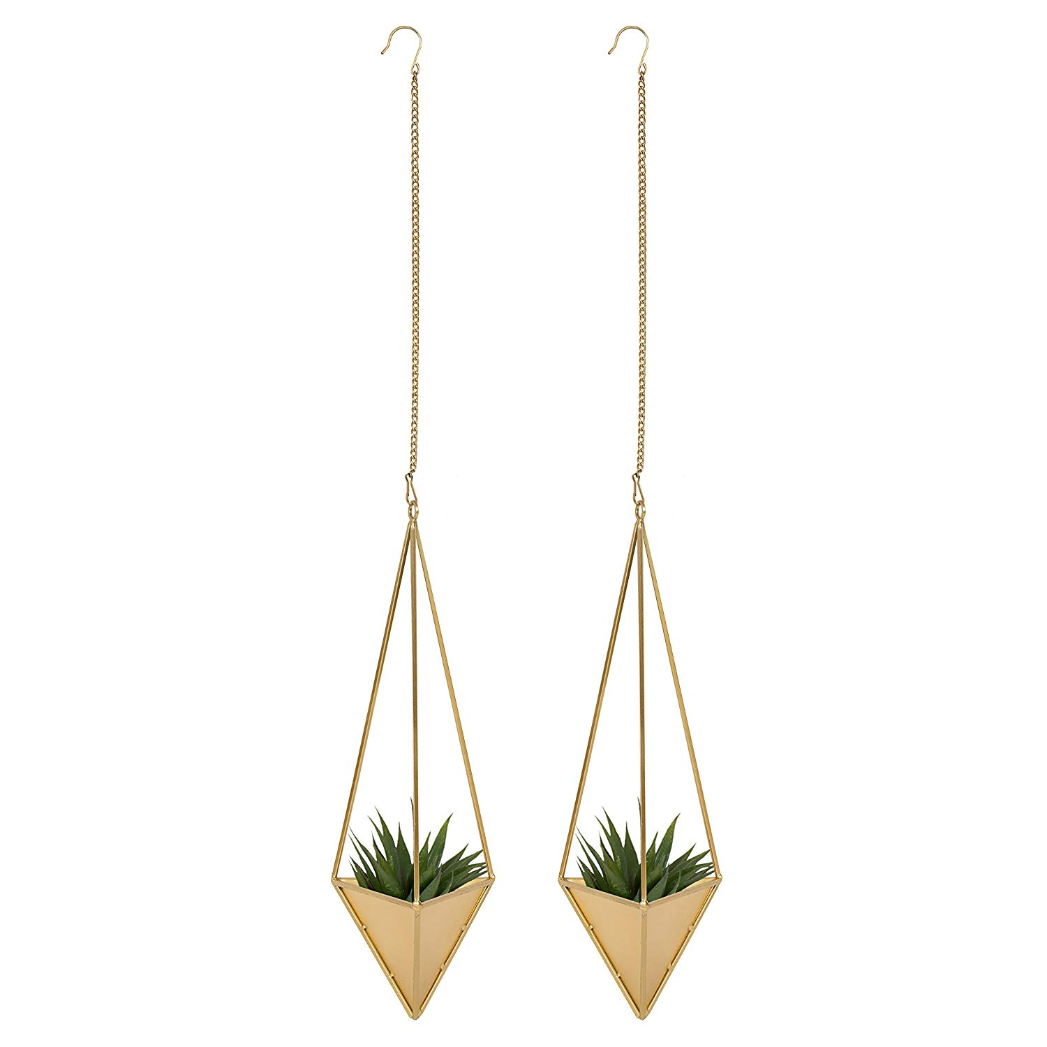 Kate and Laurel Aventura Modern Geometric 2 pc Hanging Planter Set for Small Plants, Gold, 7.25-inches wide x 6.5-inches deep x 40-inches high (with chain)