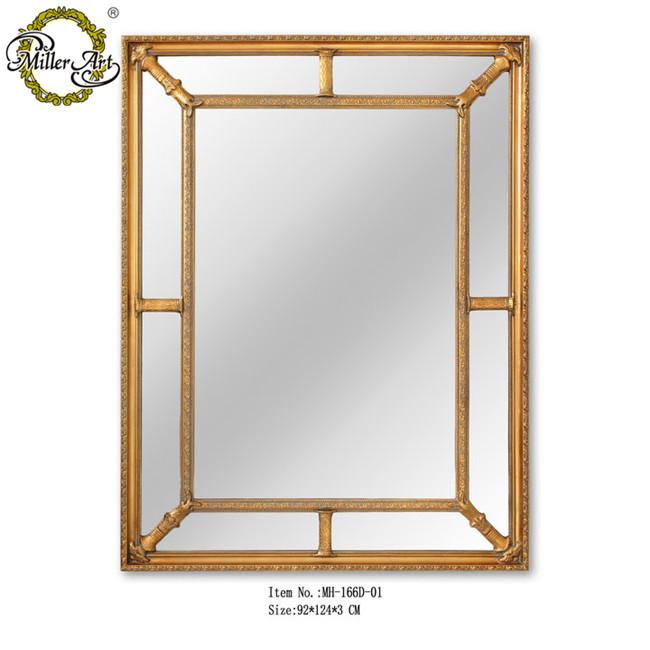 Antique Gold Square Shape Bevel Wooden Mirror Frame