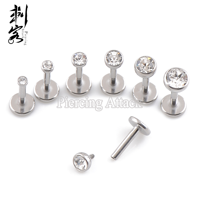 Surgical Steel 18 Gauge Triple Forward Helix Internally Threaded Labret Stud