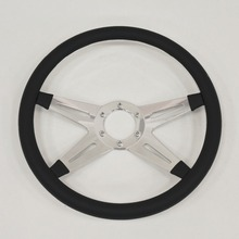 "china 14""(350mm) Billet Half Wrap Black Steering Wheel for Ford GM Impala Chevy II"