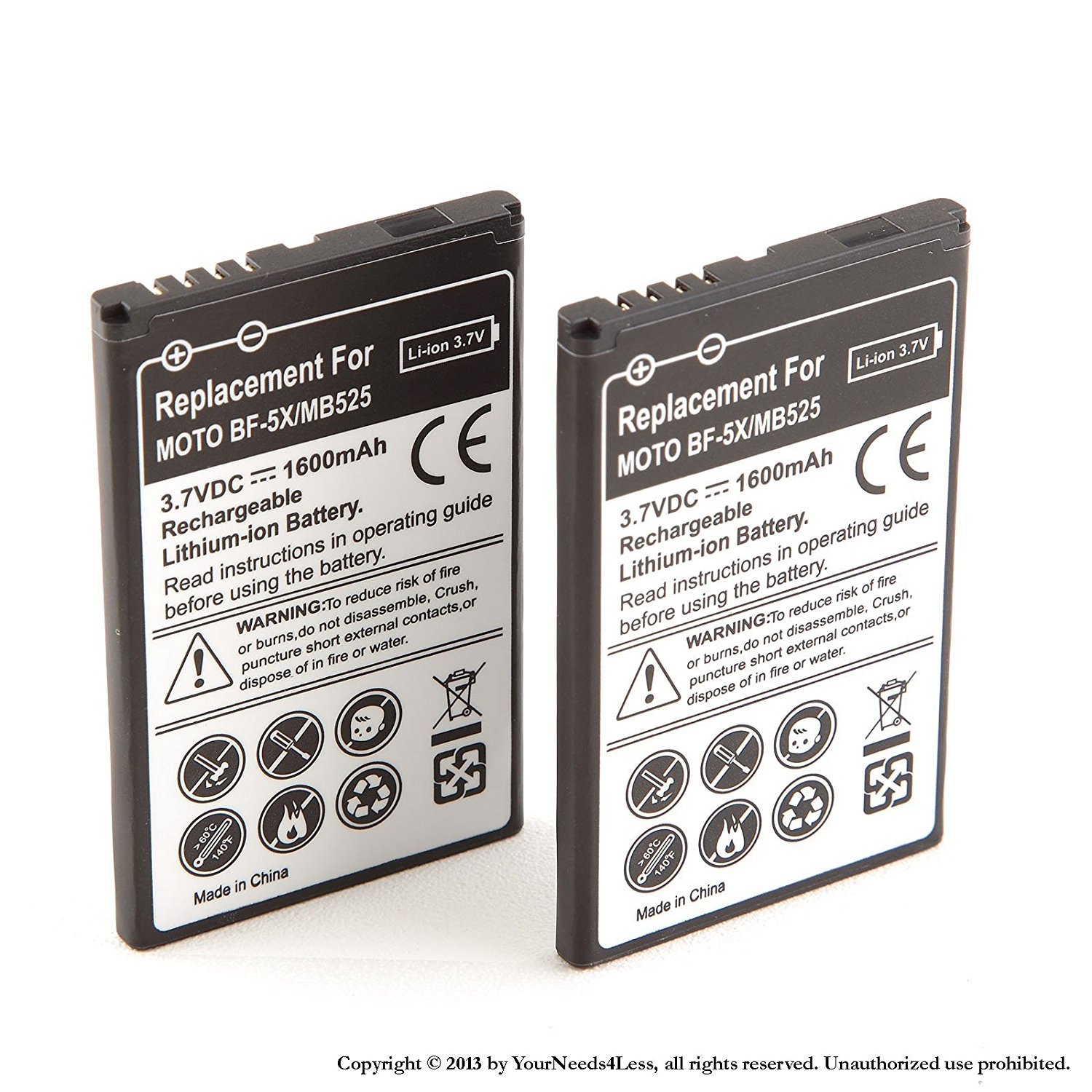 YN4L 2 X 1600mAh Replacement Batteries for Motorola Bravo MB520 ; Defy MB525