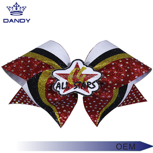 OEM custom logo metallic material gold stripe cheer bow for hair accessories