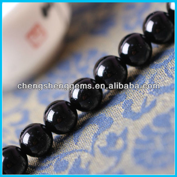 8mm natural Brazil round smooth black tourmaline loose beads