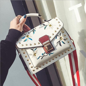 best quality women leather embroidery tote bag with national style rivet creative studded crossbody bag