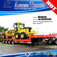 Tri-axle 4 axle Low Flat Bed Semi Trailer for Heavy Equipment Moving from China manufacturer for sale