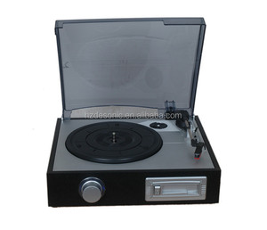 High end turntable player with portable cassette player