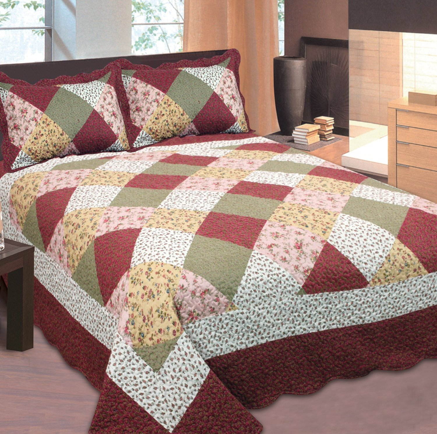 Fancy Collection 2pc Twin Size Quilted Bedspread Coverlet Set Patchwork Floral Burgundy Off White Pink Beige New