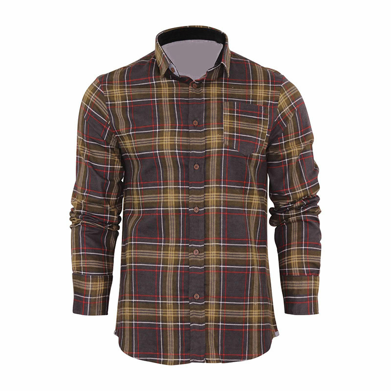 custom casual design cotton plaid man shirt long sleeve t shirt H0124