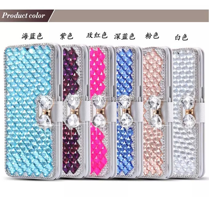 Bling Diamond Rhinestone Bow Leather Stand phone Case Cover For Samsung Galaxy S7 S7 Edge