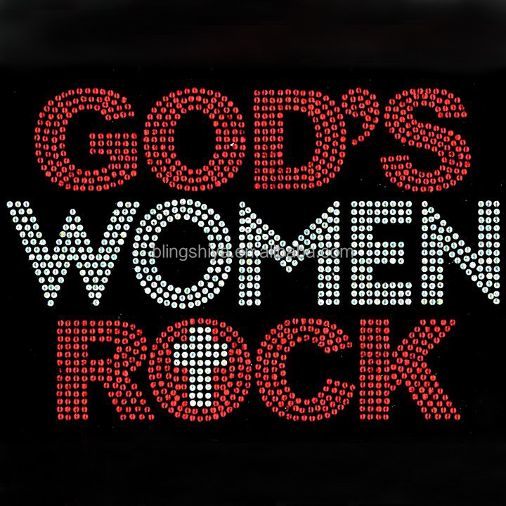 Wholesale God Women's Rock Rhinestone Transfer Iron On Alphabet Design