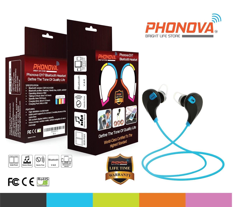 V4.0 Bluetooth headset- High Quality Audio Wireless Headphones - Listen Music With Phonova Bluetooth Headphones - QY7 wireless headphones, Bluetooth earpiece , Wireless Headset (Noise Cancelling Wireless Headphones For Mobile, Bluetooth Earbuds for Gym or Exercise, Durable Bluetooth Headphones With