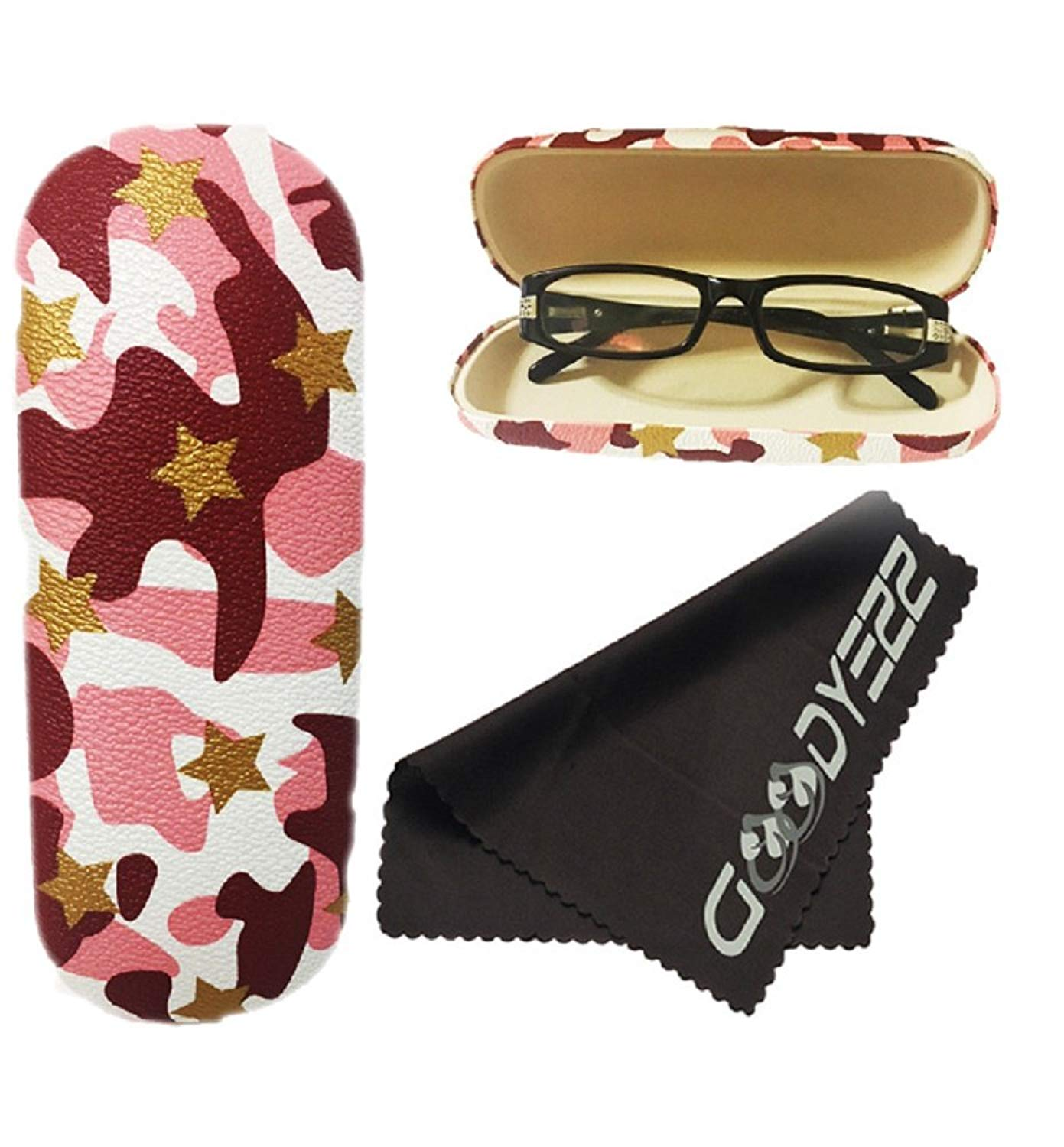 0c8ffe461bd Get Quotations · Clamshell Hard Shell Glasses Case - Durable Protective  Holder for Eyeglasses