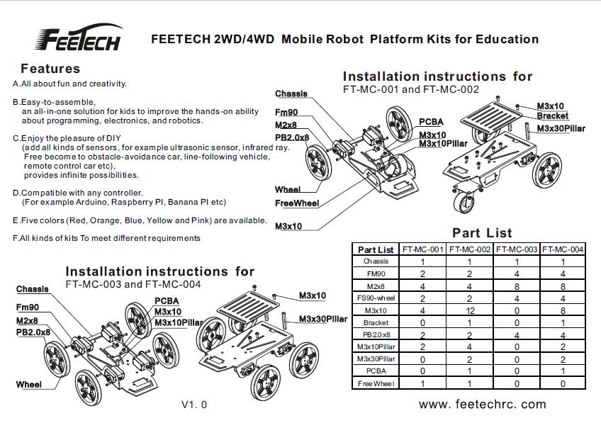 FEETECH FT-MC-001 2WD Mini Robot Mobile Platform Kit For Education