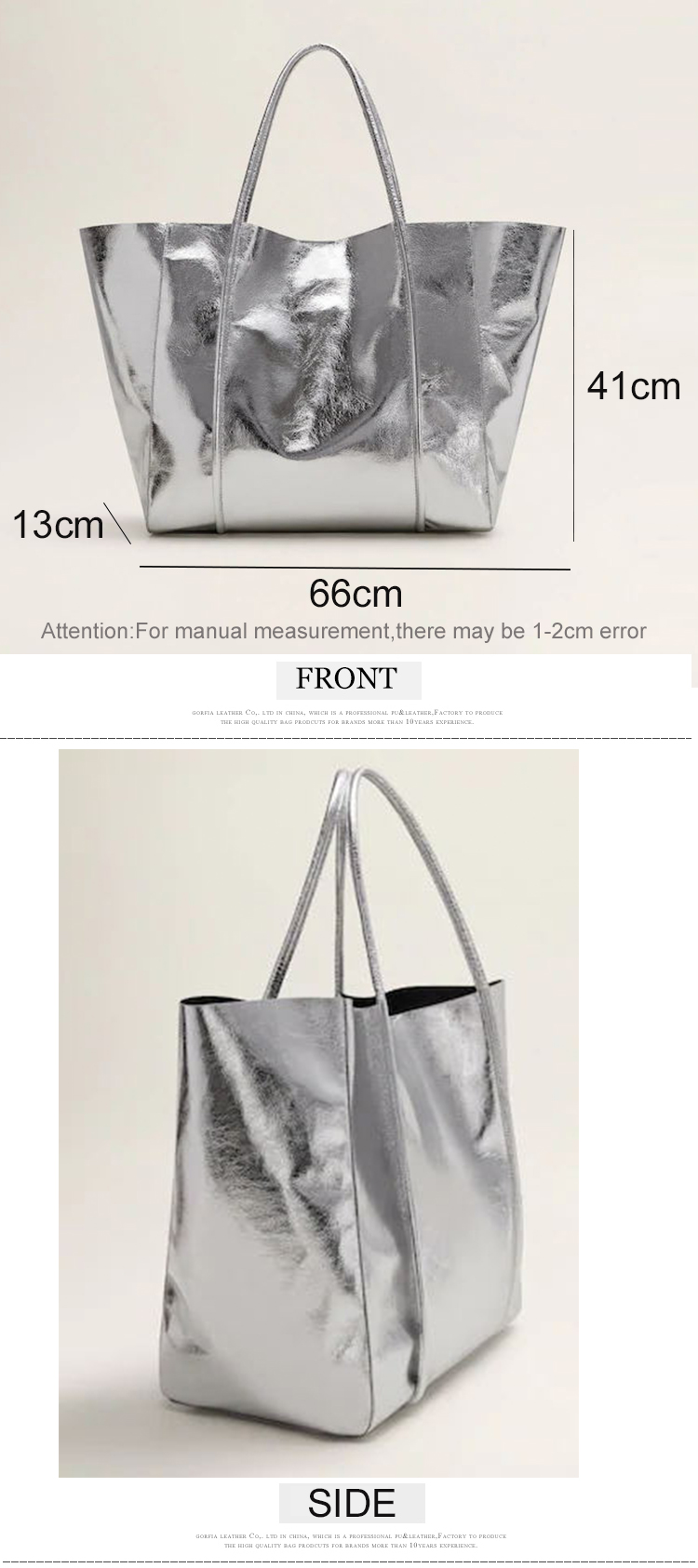 custom extra large pu leather metallic silver women shopping hobo bag women tote handbag