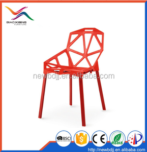 Classic Red Color Hollow Stackable Plastic Dining Chair BX-8058