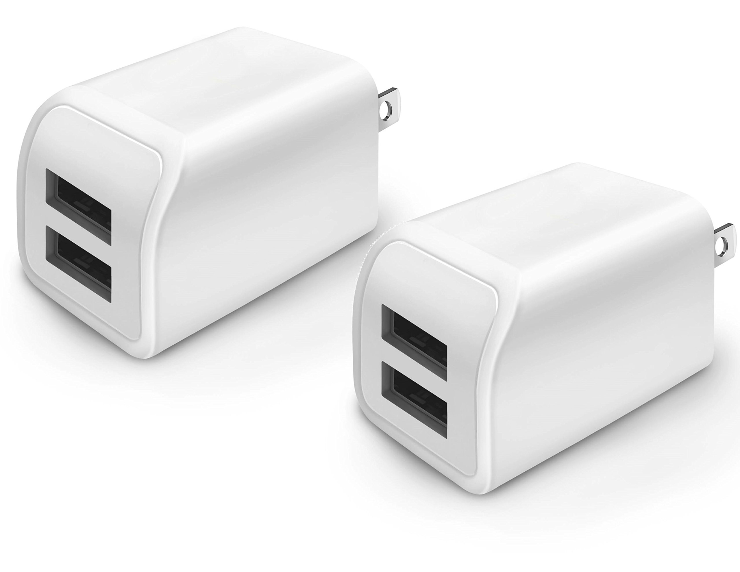 Wall Charger, 2 Pack 2A 10W Portable Dual USB Travel Wall Home Charger Power Adapter Plug for iPhone 7 / 6S / Plus, Samsung Galaxy, Motorola, HTC, Other Smartphone (White)