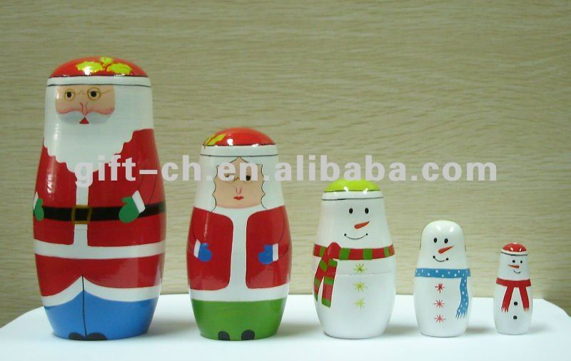 wooden Santa Claus russion nesting dolls