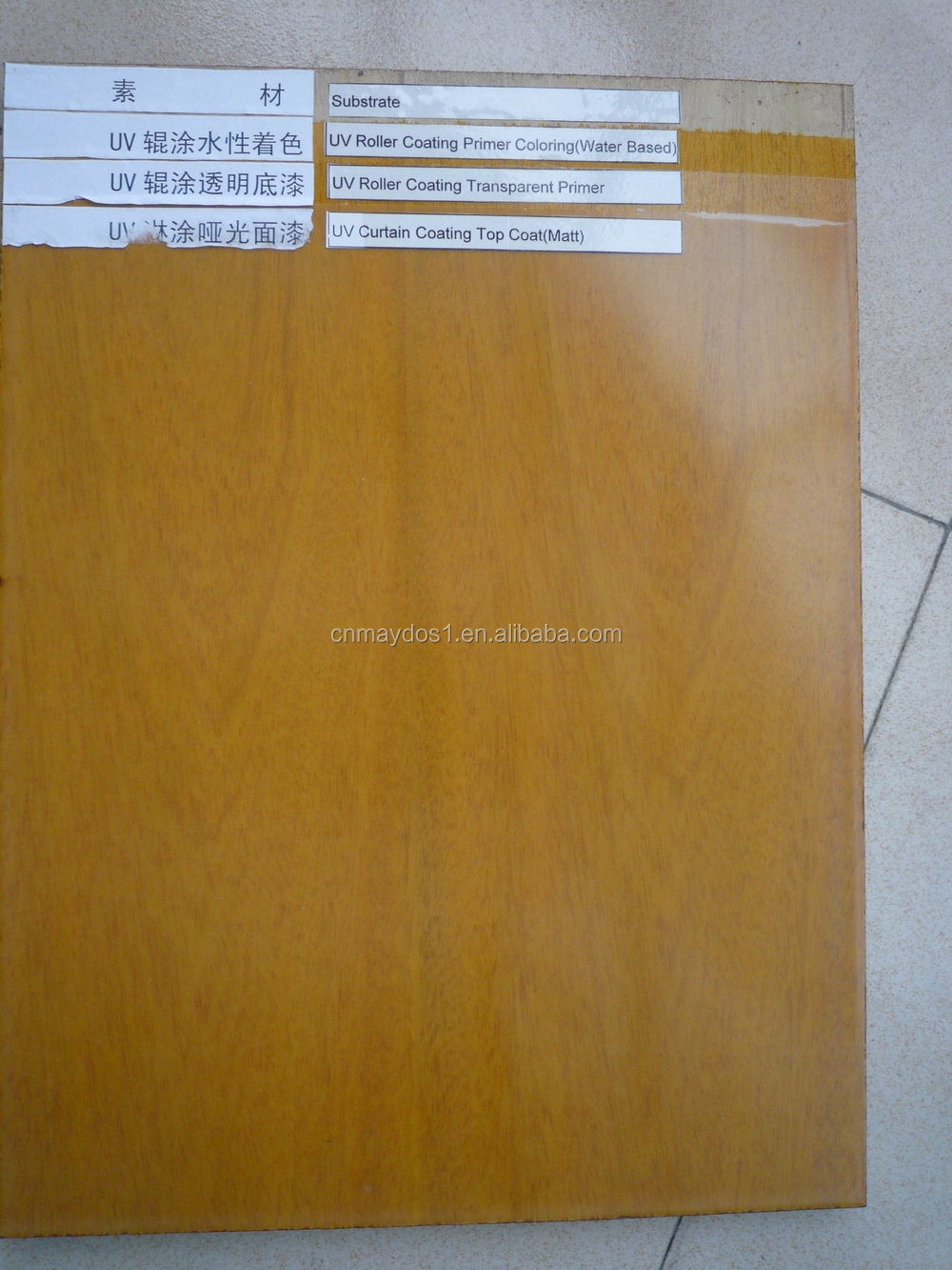 Uv Lacquer Roller Coating On Wood Furniture Mdf Board Stick Paper
