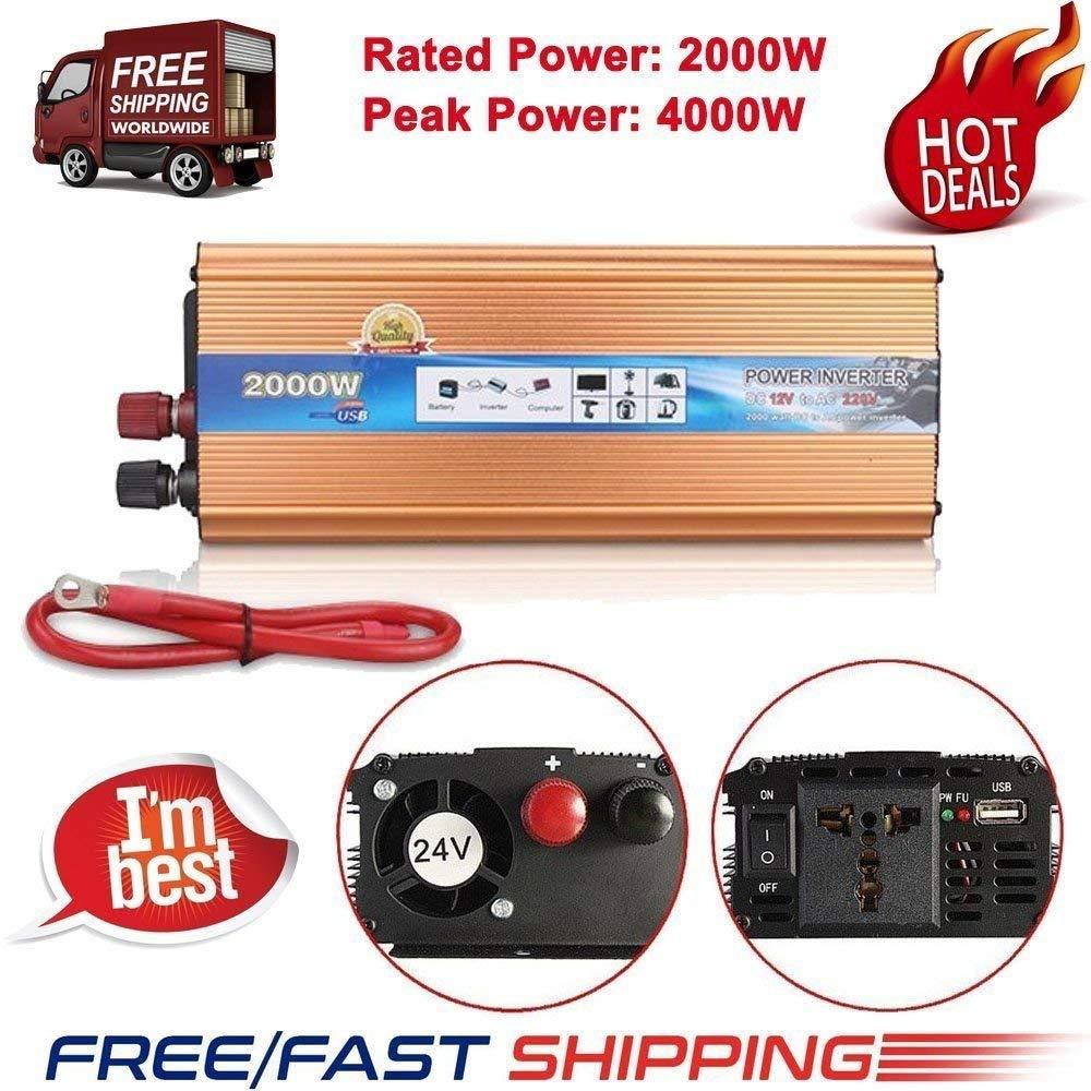 FidgetFidget Power Inverter Charger Rated 2000W Peak 4000W DC 12V AC 220V Car Auto Converter