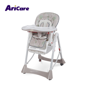 Portable easy moving foldable plastic infant dinning feeding grey high baby chair with wheels