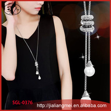 Female long section rhinestone necklace pearl pendant sweater chain