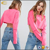 2017 New fashion active wear pink color super long sleeves Dropped shoulder hoodies custom made women crew neck crop sweatshirt