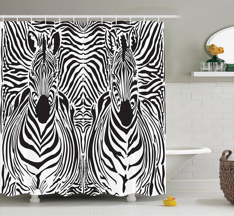 Get Quotations · Zebra Print Decor Shower Curtain Set By Ambesonne,  Illustration Pattern Zebras Skins Background Blended Over