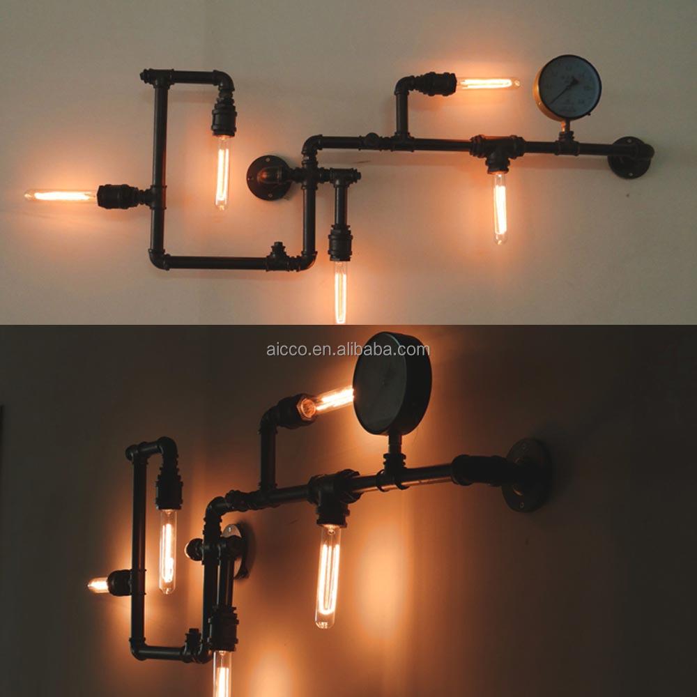 popolare loft industriale vintage tubo lampada da parete con edison ...