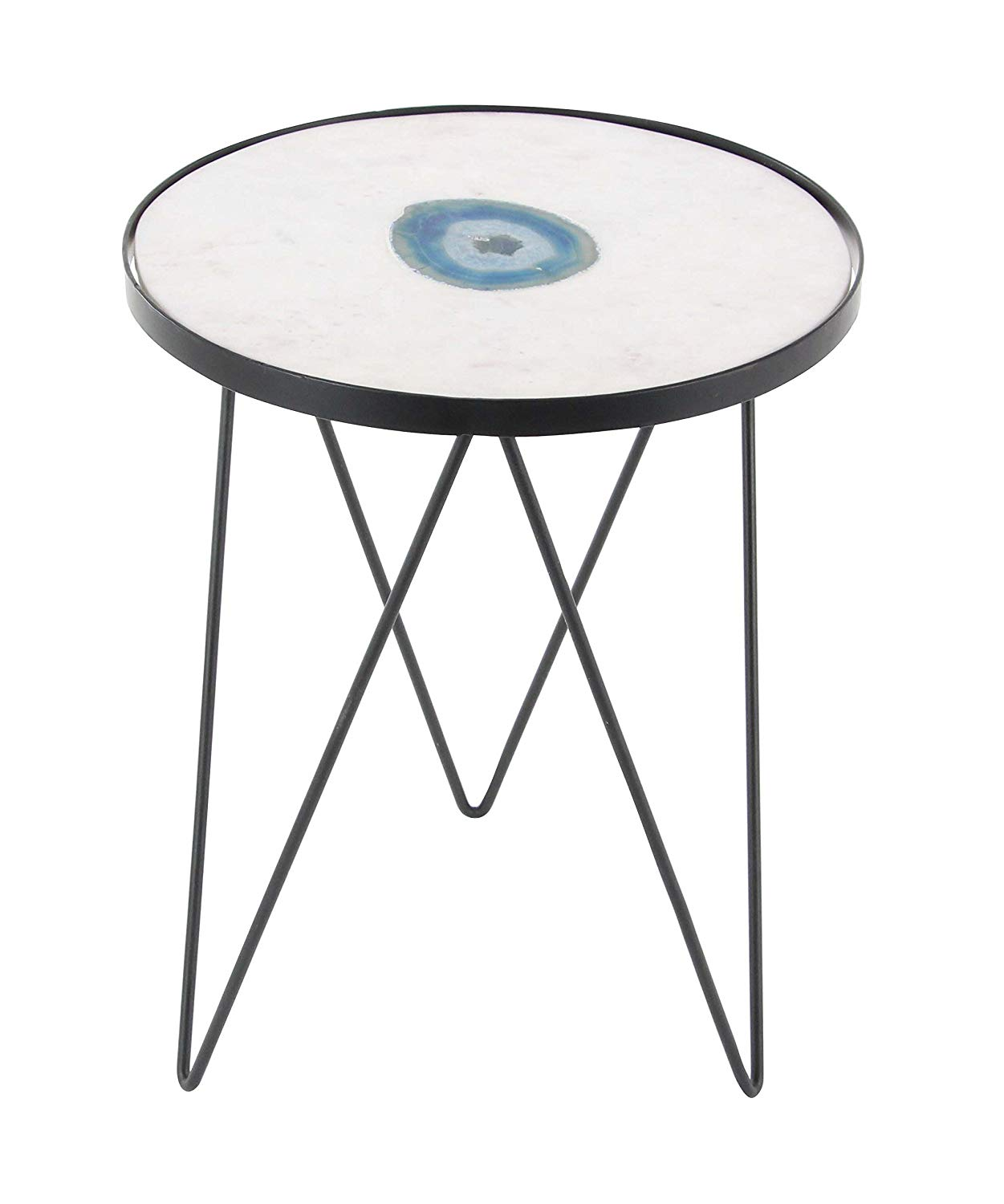 "Deco 79 42224 17""/22"" Metal and Marble Agat Accent Table, 17"" x 22"", White/Blue/Black"