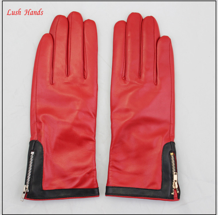 cashmere lining ladies fashion colorful leather glove with zipper