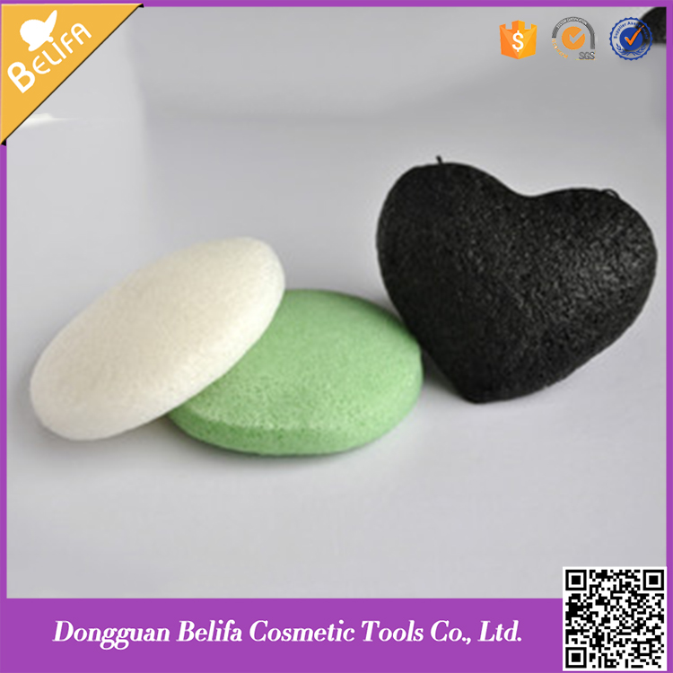 Cosmetic konjac sponge, face cleaning sponge, green 100%natural, all kinds of shape