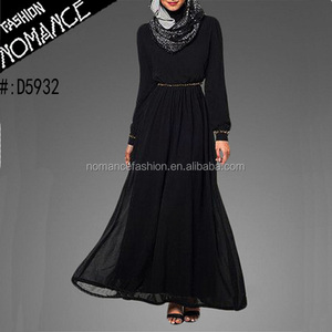 black chiffon muslim hijab long dress fully lined