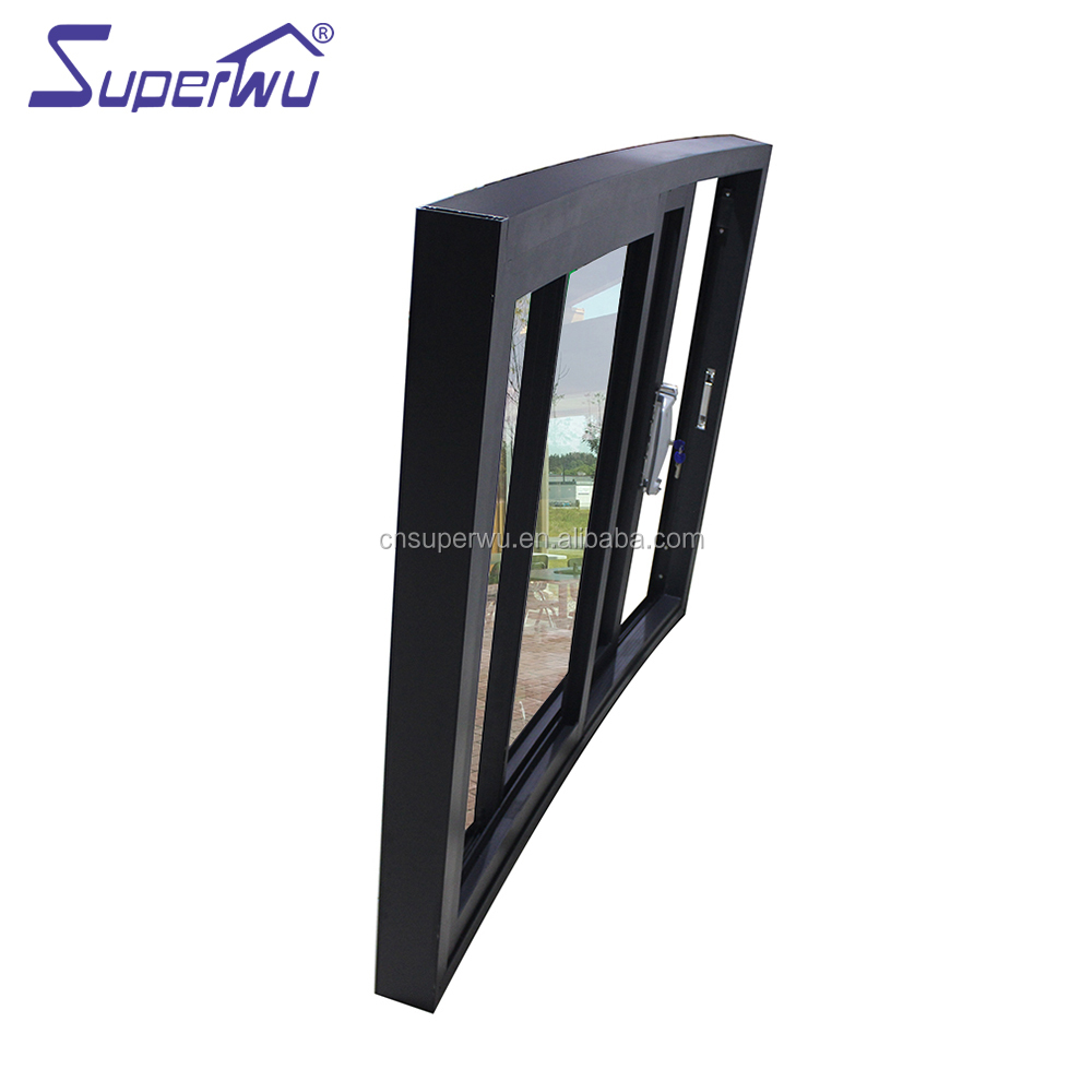 Commercial system black curved aluminium sliding window