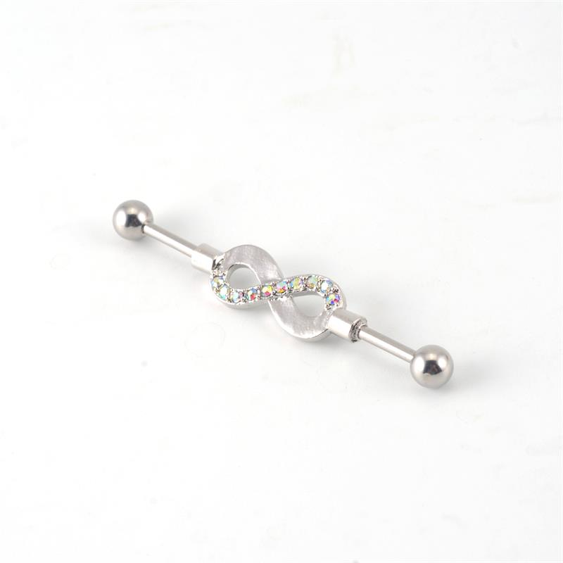 OEM products 2017 trends 14g stainless steel alloy gem industrial ear barbell