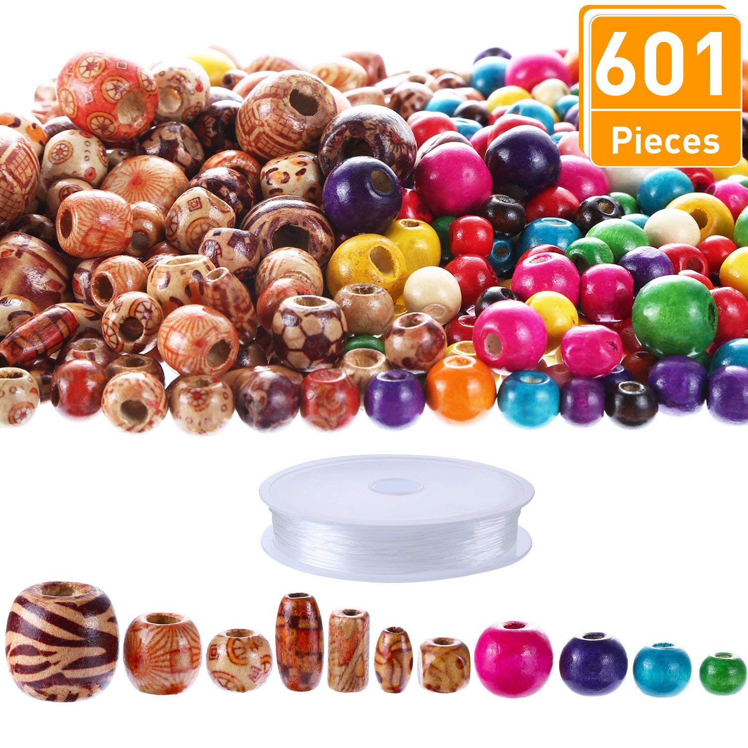 Blulu 600 Pieces Natural Color Printed Wood Beads Multi-Color Round Wooden Beads Wooden Spacer Beads with Clear Elastic String for DIY Jewelry Making