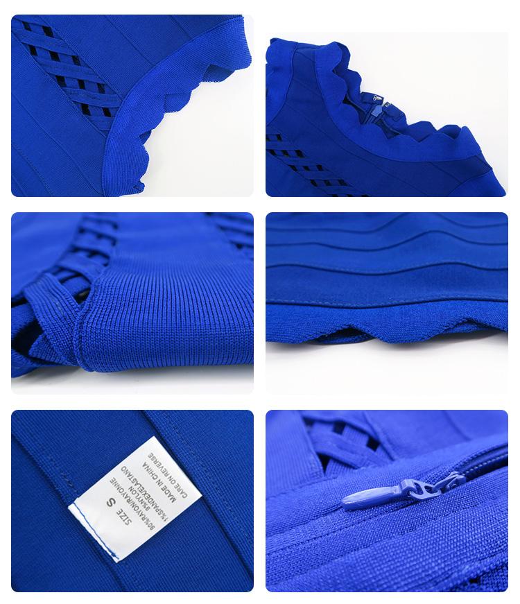 High quality night party elegant dresses blue bandage fashion evening dress for women