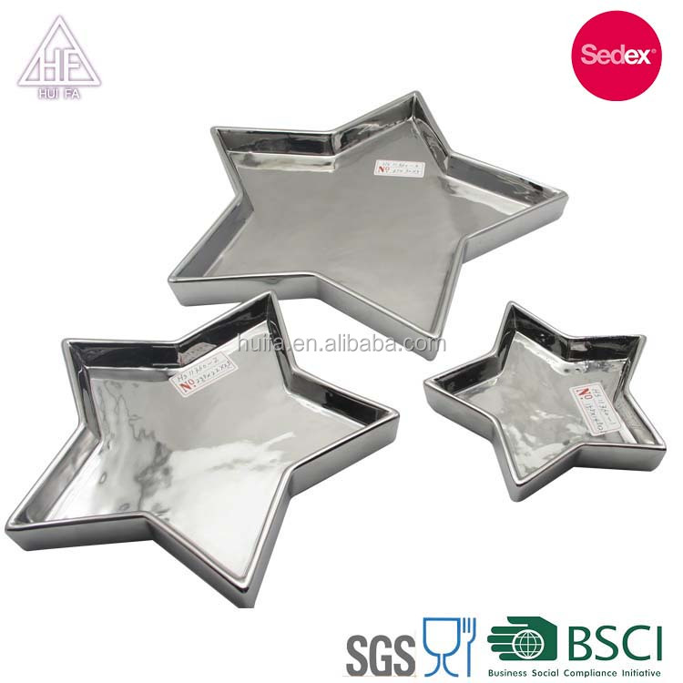 Factory porcelain stars shape design plate ceramic for wedding party decoration plate items