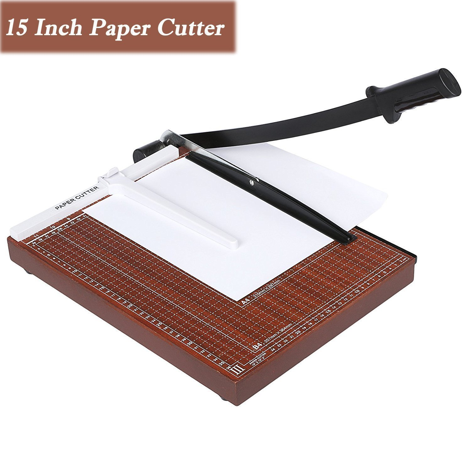 """Fashine 15"""" Guillotine Metal Base Paper Trimmer for Coupon, Craft, Card and Photo Paper Cutter 12 Sheet Capacity Paper Guillotine Cutter, A3/B4/A4/B5/A5/B6/B7"""