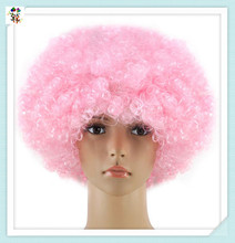 Cheap Light Pink Short Afro Curly Football Fan Synthetic Wigs HPC-1950