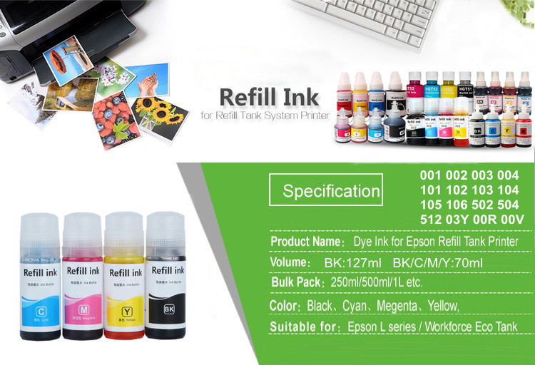 New arrival T102 102 series eco tank refill ink suit for Epson ET-2700  ET-2710 ET-2711 ET-2750 ET-3700 ET-3750 ET-4750 printer, View T102 102  series