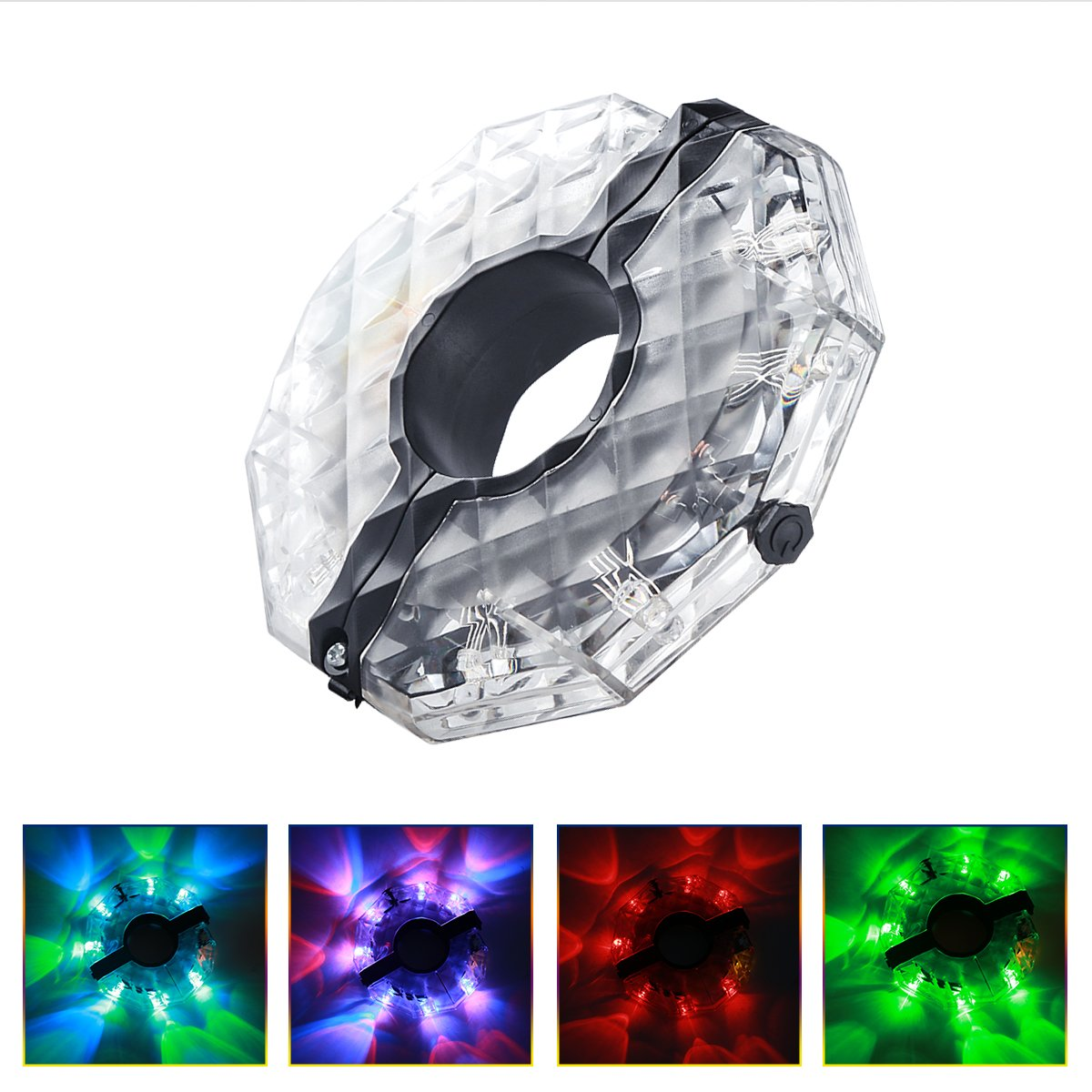 PRE Bicycle Wheel Lights USB Rechargeable Bike Wheel Hub Lights Waterproof 12 Modes LED Cycling Lights, RGB Colorful Bicycle Spoke Lights for Safety Warning and Decoration