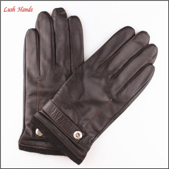 Men's New Style Genuine Sheepskin Soft Leather Winter Warm Gloves
