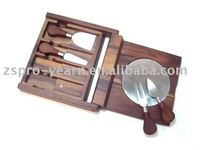 Acacia Wood Cheese Board Set with Knife and Holder and Foldable Structure and Custom Shape for Cutting Chopping and Table Dining