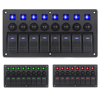 8 Gang Red LED Indicators Rocker & Circuit Breaker Waterproof Marine Boat Rv Switch Panel